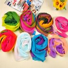 NEW Lady Women Gradient Rainbow Voile Chiffon Long Scarf Neck Wrap Stole Shawl W