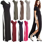 Women Ladies Both Side Split Cut Cap Sleeve Summer Long Maxi Party Dress Top