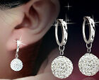Hot Fashion Womens White Gold Plated Crystal Rhinestone Ear stud Hoop Earrings