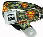 Superman Camouflage Seat Belt Buckle Dog Collars or Leash 4 Sizes NWT 2 Colors