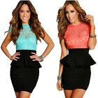 Night Out Crochet Lace Open Back Womens Cocktail Club Party Bodycon Peplum Dress