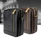 Fashion Black/Brown Genuine Leather Mens Womens Small Shoulder Bag Casual Pack