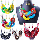 New Design Shell Like Colorful Round Coin Rope Bib Collar Necklace Earring Set