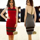 Women Embellished Straps Backless Mesh Patchwork Cocktail Club Dress Stretch New