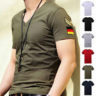 New Men's Armband V Neck Short Sleeve T-Shirt Slim Fit Casual Basic Tee Shirts image