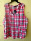 New Lands' End Womens Madras Plaid Tie Shell Sleeveless Top