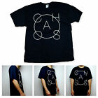 SA106 Mens Chaos Minimal Typography Art Clean Graphic Black Tee Shirt