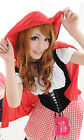 Sexy Gingham Dress and Red Hood Adult Halloween Costume w/ Attached Petticoat