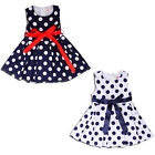 Girls Polka Dot Bow Dress Kids Summer Sleeveless Party Dresses Outfit 1-7 Years