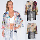 Women Ladies Tassel Fringe Tie Dye Print Kimono Cardigan Blouse Top Shrug 8-14