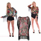 Women Ladies Tassel Fringe Floral Print Kimono Shirt Blouse Top Jumper 8-14