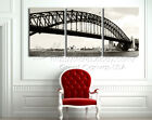 Sydney Habour Bridge In Sepia Modern Decor Wall Clock On Canvas Print Set Of 3