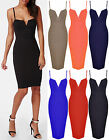 Ladies Plunge V Neck Bodycon Midi Womens Cami Strappy Long Sexy Dress Sizes 8-22