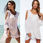 2015 Women Summer Beach Dress Casual Loose White Long Sleeve Blouson Dress