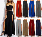 Womens Double Slit  Long Casual Maxi Skirt Stretch Opening Sides Sizes 8-22