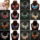 Colorful Rose Flower Gold Chain Chunky Collar Statement Necklace Fashion Jewelry