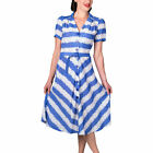 Seamstress Of Bloomsbury Lisa Shirtwaister 1940 Blue Ribbons Dress Sizes 8 - 16