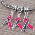 Pink Enamel Breast Cancer Awareness Survivor Pendant Beads Fit Charm Bracelet