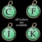 Initials Letters Aqua Teal Vtg Typewriter Key Size Necklace Pewter Charm Pendant