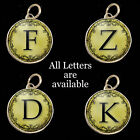 Initials Letters Yellow Vtg Typewriter Key Size Necklace Pewter Charm Pendant