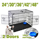 Black Wire Folding Suitcase Pet Dog Cat Crate Cage Kennel ABS Tray + Bowl