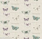 VINTAGE BUTTERFLY LINEN PVC OILCLOTH WIPE CLEAN TABLECLOTH CO click for sizes