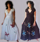 black or white dress maxi sexy boho hippy painted one size M L 1X 2X