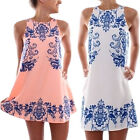 Womens Cassual Summer sleeveless Chiffon Short Mini Dress Evening Party Cocktail