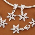 Snowflake Silver Plated Large Hole DIY Loose Bead Pendant Fit European Bracelets
