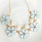 Fashion exquisite Sweet pearl flower Fresh light blue lady clavicle necklace