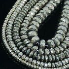 Natural Iron Pyrite Gemstone Faceted Rondelle Beads 16""