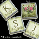 Vtg Pink Roses Inspirational Believe Initials Necklace Silver Charms Pendants