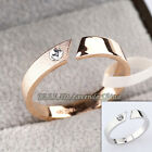 B1-R529 Fashion 4mm Band Ring 18KGP Rhinestone Crystal Size 5.5-8