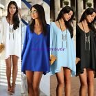 Fashion Womens Chiffon Batwing Long Sleeve V neck Shirt Dress Casual Tops NS01
