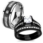 His Titanium Hers Princess Cut Black Stainless Steel Newly Wedding Ring Band Set