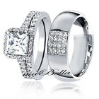 Copule Hers Sterling Silver His Stainless Steel Engagement Wedding Ring Band Set
