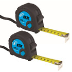 Ox Trade Tape Measure Tough Nylon Coated Steel 25mm Wide Rubber Case Thumb Lock