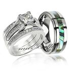 4 Pc Hers Sterling Silver & His Seashell Stripe Tungsten Wedding Rings Band Set