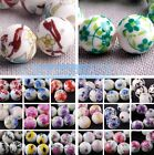 10pcs Round 10~12mm Ceramic Porcelain Flower Pettern Charms Loose Beads 60 Style