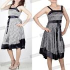 Women's Vintage Sleeveless Bowknot Colorblock Party Peplum Shift Sundress N202