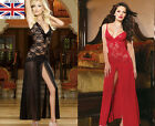 Sexy Lace See through Gown Babydoll Cross Strap Lingerie Dress w Thong XXX #4166