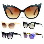 SA106 Womens Unique Lightening Bolt Horn Cat Eye Plastic Sunglasses