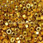 Gold Anodised Alloy Hex Nut - Choice Of Size Metric M4 M5 M6