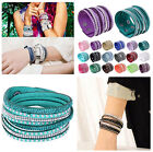 Charm Hot Punk Crystal Leather Wrap Wristband Cuff Rhinestone Bracelet Bangle