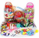 Childrens Kids Mega Craft Jar Giant Art Set Pom Poms Beads Paper Foam Letters