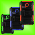 Holster Cover Belt Clip Rugged Tough Stand Case for LG Sunrise L15G / Lucky L16C