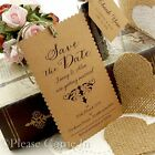 Personalised Kraft Mini Scalloped Damask Save the Date Tags for Rustic Wedding