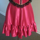 Mini Dance Hall Skirt Old West Saloon Open Back One Size Fits Most Pink or Wine