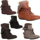 12580 Womens Ankle Boots Fold Over Fur Lined Brogue Detail Warm Soft Shoes