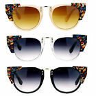 SA106 Retro Womens Marble High Point Cat Eye Horn Fashion Sunglasses